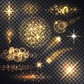 Set Glows Bright Star Light Fireworks Royalty Free Stock Photo