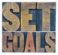 Set goals typography abstract a collage of isolated words in letterpress wood type Royalty Free Stock Photography
