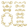 Set of gold abstract curly headers, design element set isolated on white background.