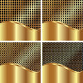 Set of gold backgrounds Stock Images