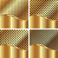 Set of gold backgrounds 3 Royalty Free Stock Images