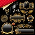 Set of gold and black design elements Royalty Free Stock Photo