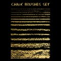 Set of gold chalk brushes. Vector lines with chalk texture. Gru