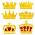 Set of gold crowns on white background vector illustration Royalty Free Stock Images