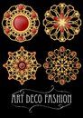 Set of gold filigree brooch with red gems garnets in art deco style. Round symmetric retro jewel from gold metal