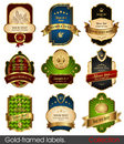 Set of gold-framed labels Royalty Free Stock Photo