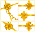 Set of gold gift bows with ribbons. Vector. Royalty Free Stock Photos