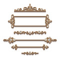 Set of gold jewelry design elements on white Royalty Free Stock Photo