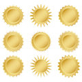 Set gold medals on a white background Royalty Free Stock Photo