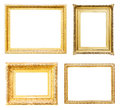 Set of gold picture frames. Isolated over white Royalty Free Stock Photo