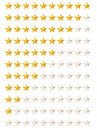 Set of gold rating stars Stock Images