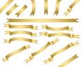 Set of gold ribbons.