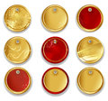 Set gold round textured labels white background Royalty Free Stock Photography