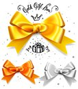Set of gold, silver and bronze gift bows, satin isolated red glamour bow for birthday and christmas giftbox. Present