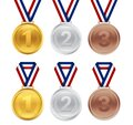 Set of gold, silver, bronze medal for award ceremony. Sport prize for first place winner. 3d champion trophy icon with ribbon on Royalty Free Stock Photo