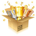 Set of Gold, Silver and Bronze Trophies Royalty Free Stock Photo