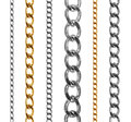 Set of gold and silver chains isolated on white Royalty Free Stock Photo