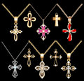 Set gold and silver cross pendant with gems