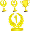Set of gold trophies on a white background Stock Photos