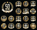 Set of Golden Anniversary Badges. Set of Golden Anniversary Signs. Royalty Free Stock Photo