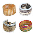 Set of golden bracelets Stock Images
