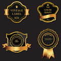 Set of golden decorative ornate black golden framed labels vector Stock Photos