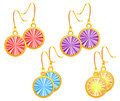 Set of golden earrings different colors red purple blue orange vector Royalty Free Stock Photography