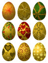 Set of golden Easter eggs Royalty Free Stock Image