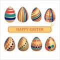 Set of golden easter eggs