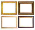 Set of golden frame and wood vintage isolated on white background. Royalty Free Stock Photo