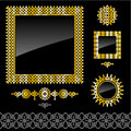 Set of golden frames and design elements Stock Images