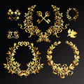 Set of golden  laurel wreaths Royalty Free Stock Image