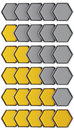 Set of golden metal rating hexagons Stock Photos
