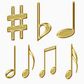 Set of golden musical notes Royalty Free Stock Photos
