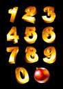 Set of golden numbers collection with christmas toys Royalty Free Stock Photos