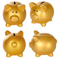 Set of golden piggy bank isolated over white background Royalty Free Stock Photos
