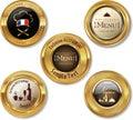 Set of golden restaurant labels illustration Royalty Free Stock Photos