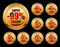 Set of golden sale tags Royalty Free Stock Photography