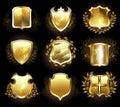 Set of golden shields on a black background Stock Photography