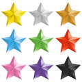 Set of golden, silver, bronze, colorful isolated stars