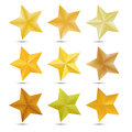 Set Golden star on white background Royalty Free Stock Photo