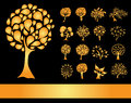 Set of golden tree silhouettes for your design Royalty Free Stock Photo
