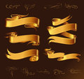 Set of golden vector ribbons for your text fine line design elements isolated on dark brown background Stock Photo