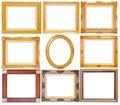 Set of golden vintage frame isolated on white background Royalty Free Stock Photo
