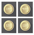 Set of golden warranty  buttons Royalty Free Stock Photo