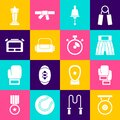 Set Gong, Boxing glove, short, Ringing bell, Sport bag, Stopwatch, Award cup and icon. Vector Royalty Free Stock Photo