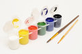 Set of gouache paints and brushes to paint Royalty Free Stock Photo