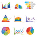 Set of Graph Icons - Diagrams and Charts - Rainbow Colors Royalty Free Stock Photo