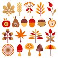 Set Graphic Autumn Icons Brown Orange Red