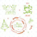 Set of graphic christmas tags with wreath deer horns pine tree and hand drawn letters merry holly jolly happy new year Royalty Free Stock Photo